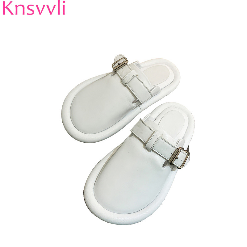 Knsvvli White Genuine Leather Slippers Woman Round Toe Metal Belt Buckle Casual Shoes Fashion Comfort Flat Mules Shoes WomenKnsvvli White Genuine Leather Slippers Woman Round Toe Metal Belt Buckle Casual Shoes Fashion Comfort Flat Mules Shoes Women