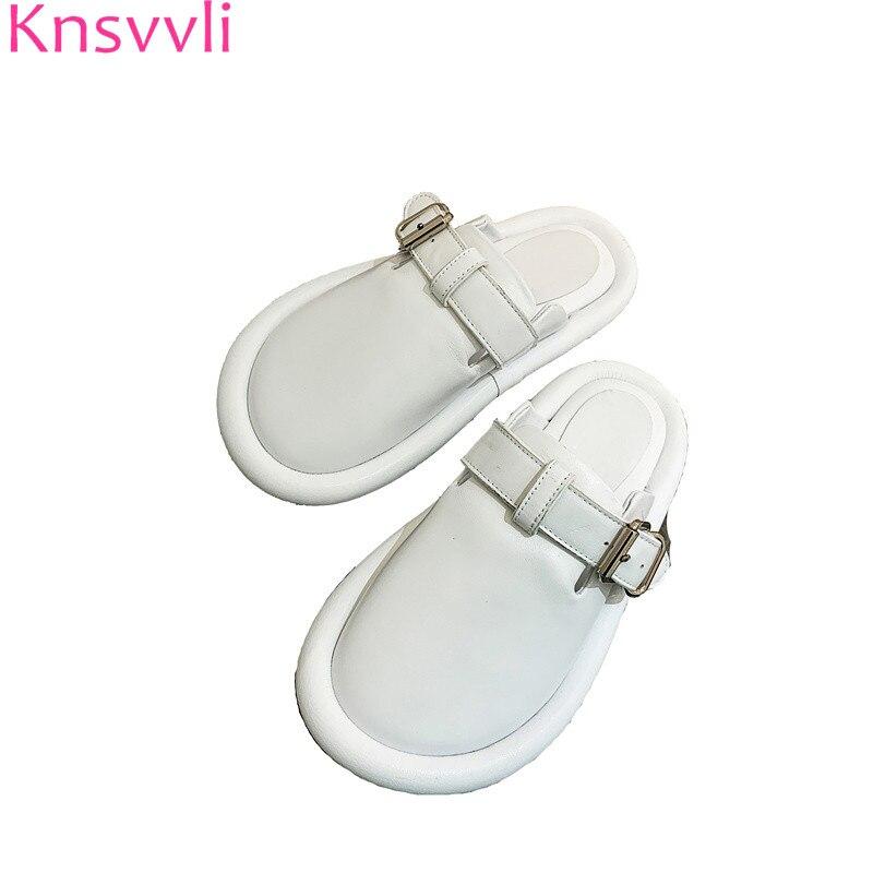 Knsvvli blanc en cuir véritable pantoufles femme bout rond en métal ceinture boucle chaussures décontractées mode confort plat Mules chaussures femmes