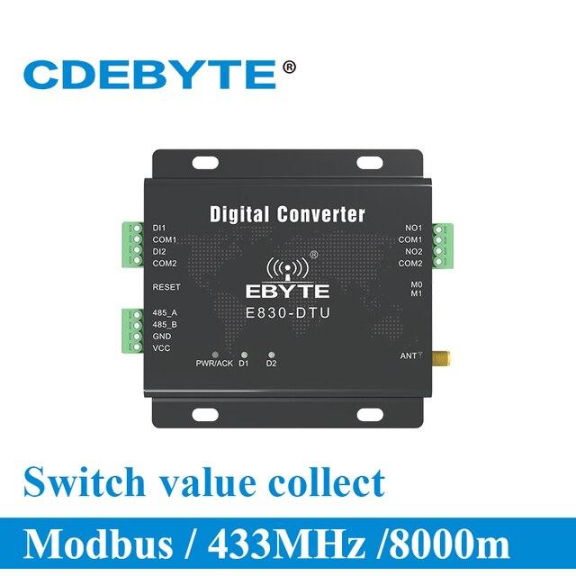 E830 DTU (2R2 433L) 433MHz Modbus RTU interruptor de adquisición de valor 2 canales 30dBm transceptores RF inalámbricos