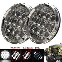 1 Pair 75W 7inch Chrome Headlamp 12V Replacement Projector LED Headlight With White DRL For Jeep