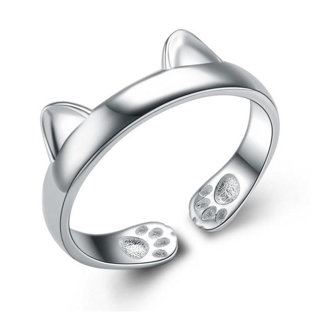 100% Sterling Silver Rings For Women Lovely Cat Silver Ring 925 Silver Ring  Designs For