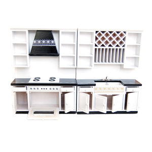 Image 2 - 1:12 בית בובות מיניאטורות מטבח ארונות סט עץ ריהוט אגן תנור דלפק # WD025