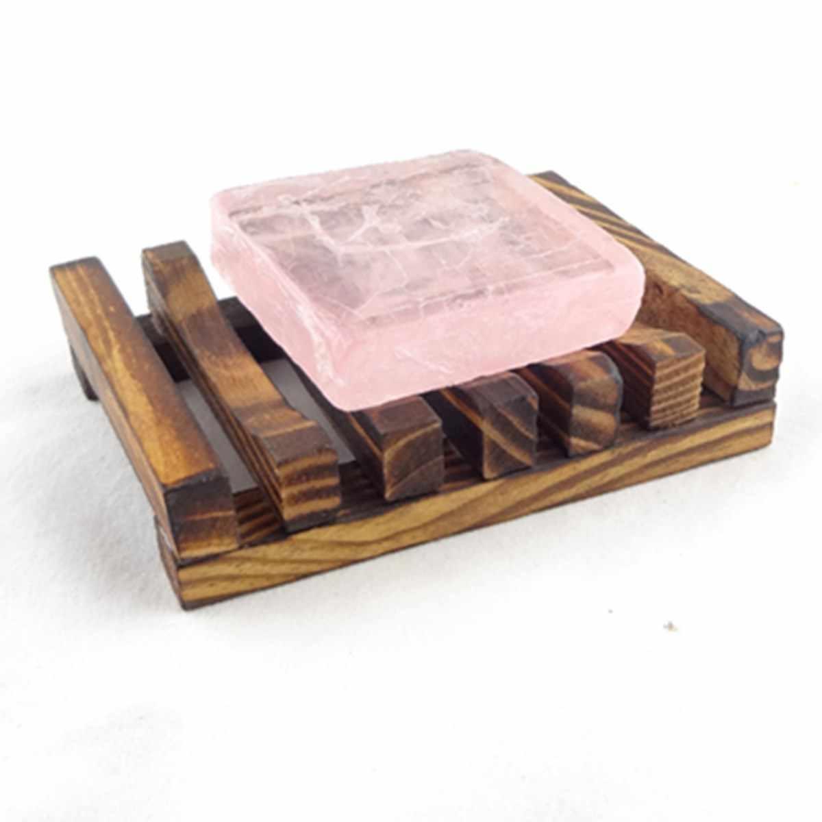 Piękny Design w kształcie trapezu 10.8x8x2.5 cm drewniane ręcznie łazienka drewno mydelniczka Box pojemnik z hydromasażem kubek do przechowywania stojak trwałe