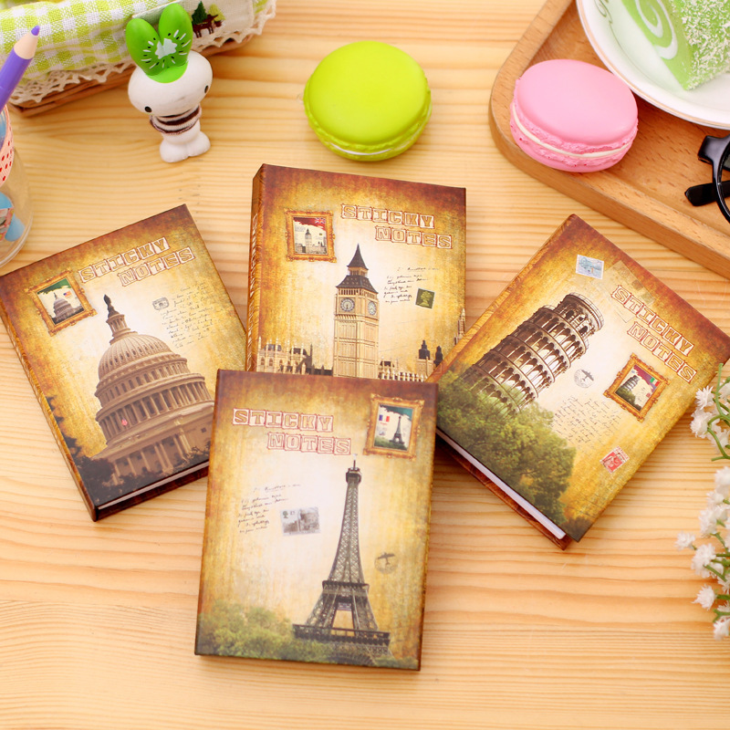 European 1 PC creative hardcover memo stickers pad post it notepad sticky notes kawaii stationery diary notebook office school