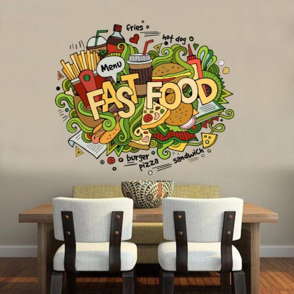 I Love Fast Food Illustration Fashion Wedding Decor Vinyl