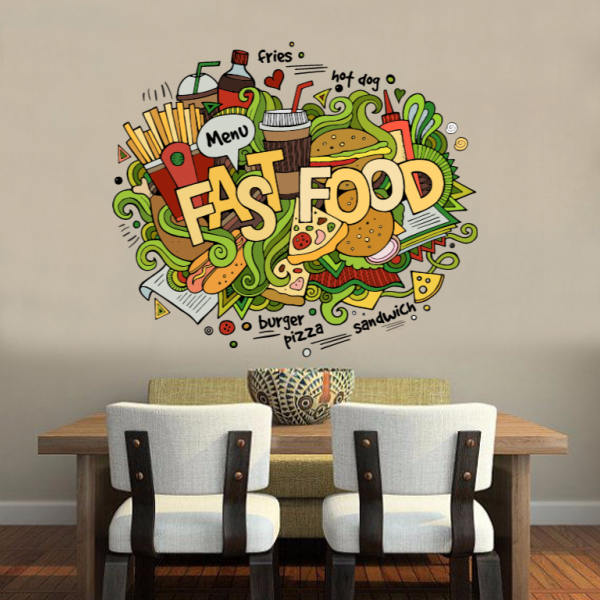 Ich Liebe Fast Food Illustration Mode Hochzeit Decor Vinyl Gorgeous Interior Design Fast Food Decor