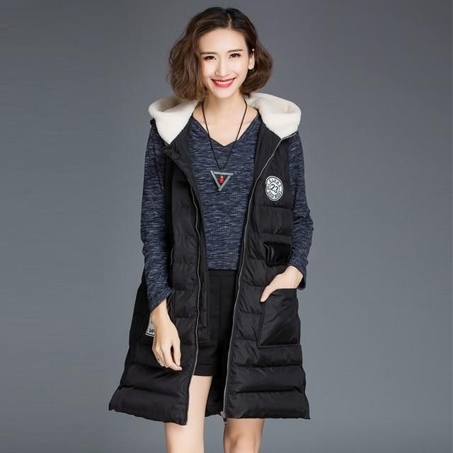 2016Colete Feminino Women hooded Vest Coat Autumn Winter Warm sleeveless Zipper Long Vest wadded jacket coat plus sizeXXXXXL8001