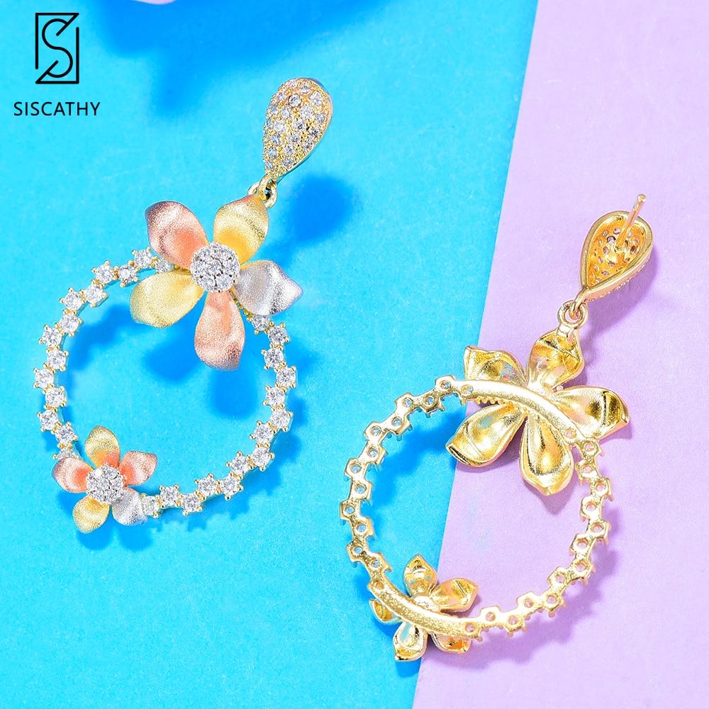 Siscathy Charms Girls Earrings Lovely 3 Tone Flower Round Dangle Drop Earrings For Women Party Wear Jewelry Cubic Zirconia in Drop Earrings from Jewelry Accessories