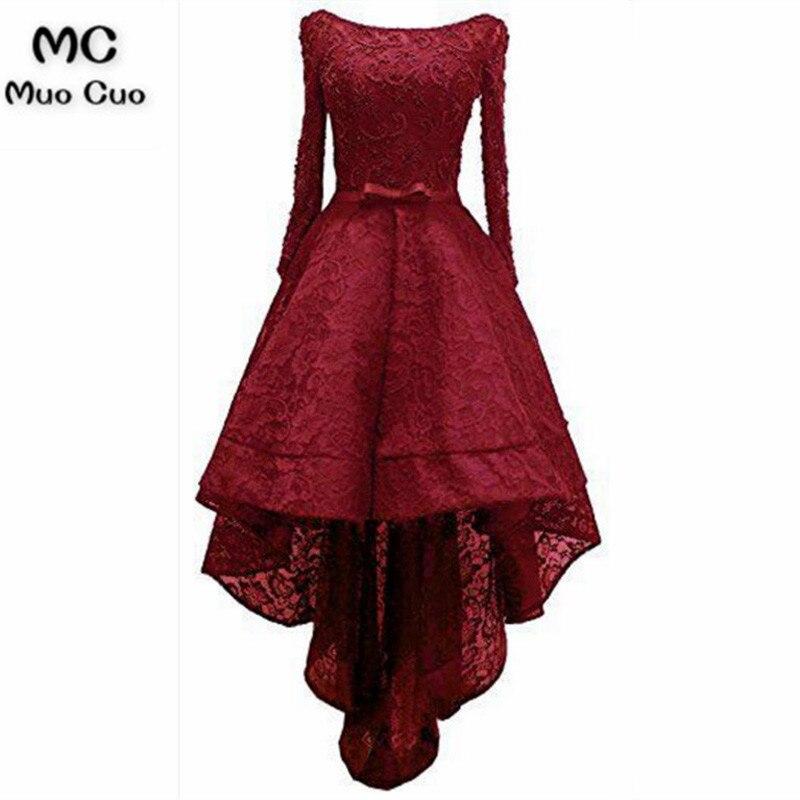 Новый 2018 Выпускные платья Burgundy одежда с длинным рукавом расклешенное, длиной до пола, высокий, низкий, свободное платье, торжественное летне...
