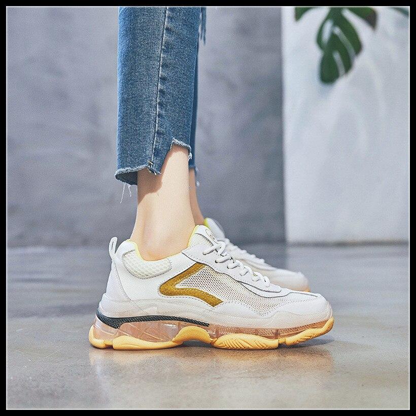 Plataforma Vintage Único Rosado amarillo Chica Mujer Diseñador Deporte Cacusal De Papá Transparente Zapatos Zapatillas CqwxzH86z