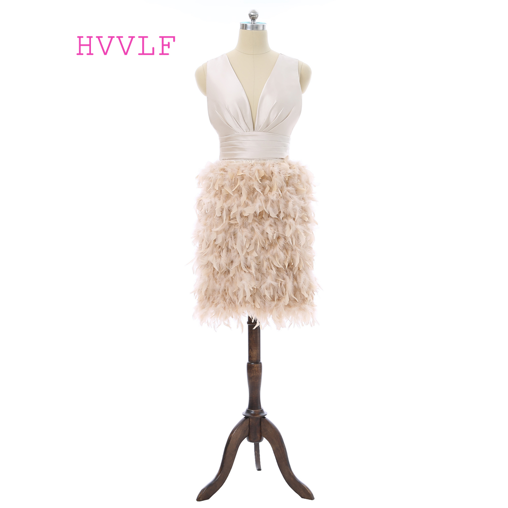Elegant 2019   Cocktail     Dresses   Sheath Deep V-neck Short Mini Satin Feather Open Back Homecoming   Dresses