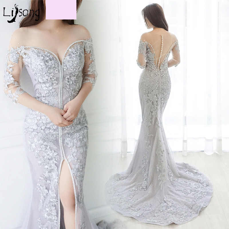 Sheath Light Gray Appliques Embroidery Mermaid Evening Dress Custom Made  Sexy Women Formal Occasion Maxi Gowns 223f23e75611