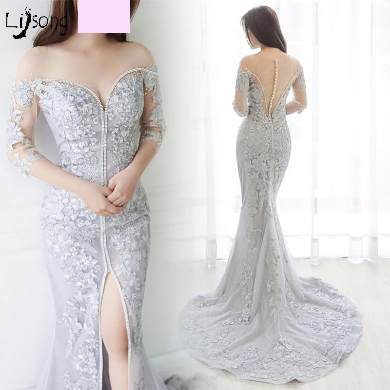 Sheath Light Gray Appliques Embroidery Mermaid   Evening     Dress   Custom Made Sexy Women Formal Occasion Maxi Gowns Vestidos de noiva