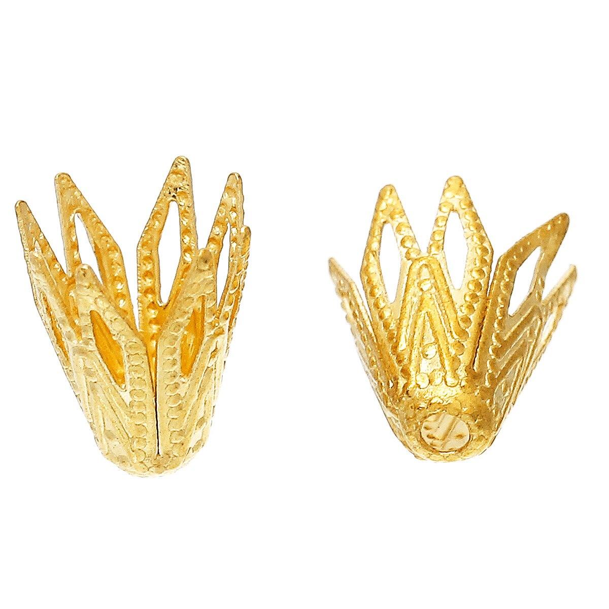 DoreenBeads Brass Beads Caps Findings Flower Brass Tone Blank(Fits 8mm Beads)Hollow 8mm(3/8)x 7mm(2/8),50 PCs 2015 new