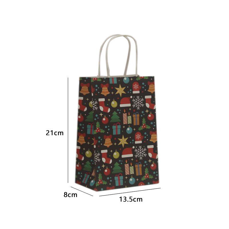 Image 5 - 10Pcs/lot Multifuntion Christmas Paper Bag 21*13*8cm Festival gift bags with Handles Christmas Party Supplies For Event Party-in Gift Bags & Wrapping Supplies from Home & Garden