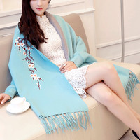 Luxurious Winter Elegant Cardigan Plum Floral Embroidery Women Long Poncho Tassel Shawl Cape Woolen Cashmere Lady