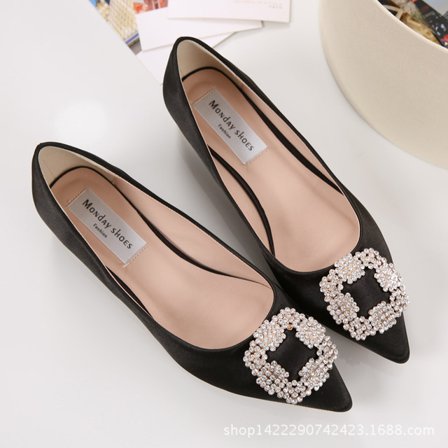 2018 Brand Women Square Buckle Flats Silk Crystal Ballerina Flats Shoes  Woman Slip On Ballets Ladies Dress Wedding Shoes 5992a456dc79