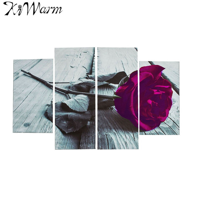 4pcs Set Plum Purple Rose Fl Flower Canvas Painting Black White Wall Art Picture For