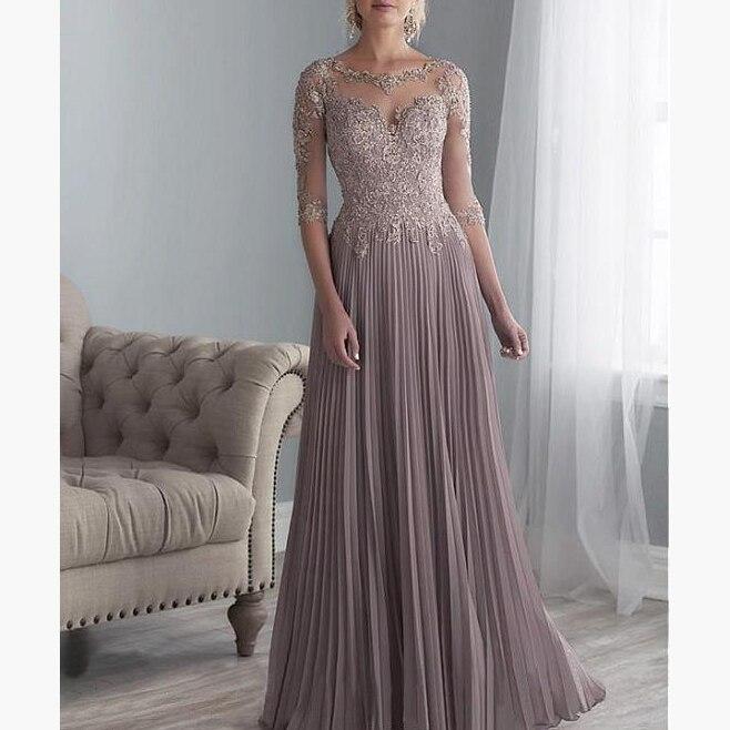 2019 mousseline De soie plissée dentelle Applique une ligne avec 1/2 manches mère De la robe De mariée longue robe De Festa Longo
