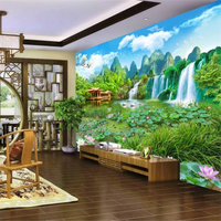 Beibehang Custom Wallpaper Landscape Landscape Fairyland 3D Landscape Painting Background Wall Decoration Painting