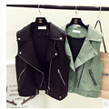 New 2016 Women Leather Vest Sleeveless Leather jacket Turn-down Collar Pockets colete feminino PU vest Waistcoat leather coat