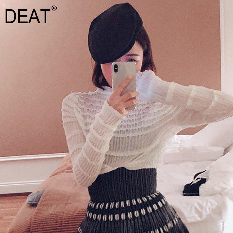 [DEAT] 2019 nouveau mode volants offre spéciale personnalité femmes T Shirt à la mode asymétrie irrégulière automne vêtements pulls BD437