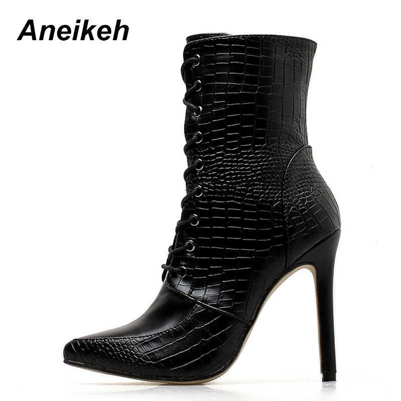 ... Aneikeh женские демисезонные ботильоны из искусственной кожи, с острым  носком, на шнуровке, ... dc05ed34592