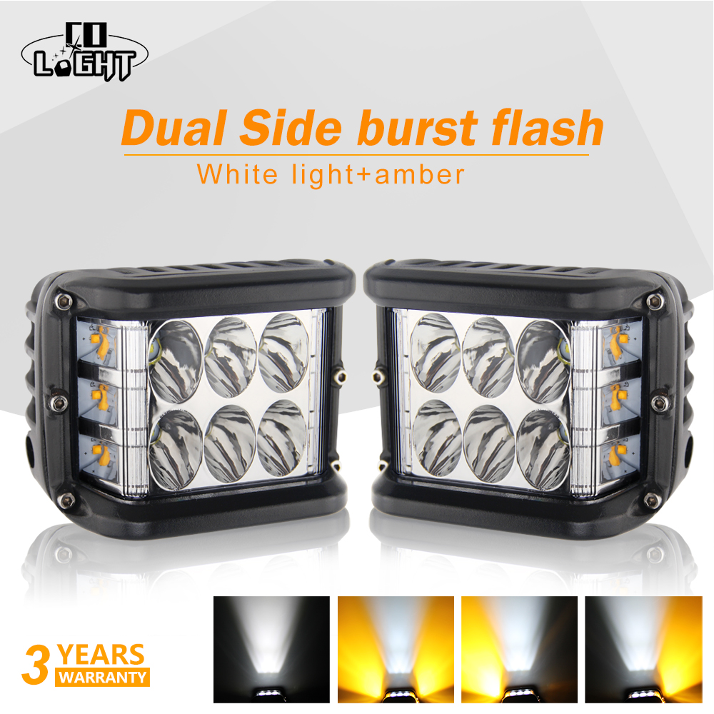"2x 4/"" INCH 45W Side Shooter Pods Combo LED Work Light Strobe Lamp White /& Amber"