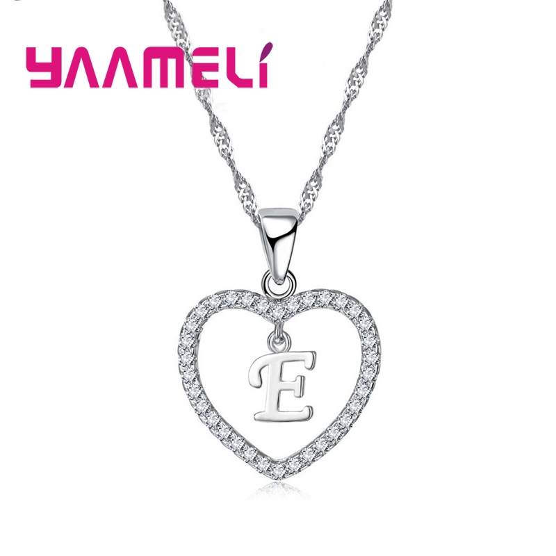 Romantic Heart Design 26 Letters Necklace Pendant Super Shiny Cubic Zirconia 925 Sterling Silver For Women Girls Gift 4