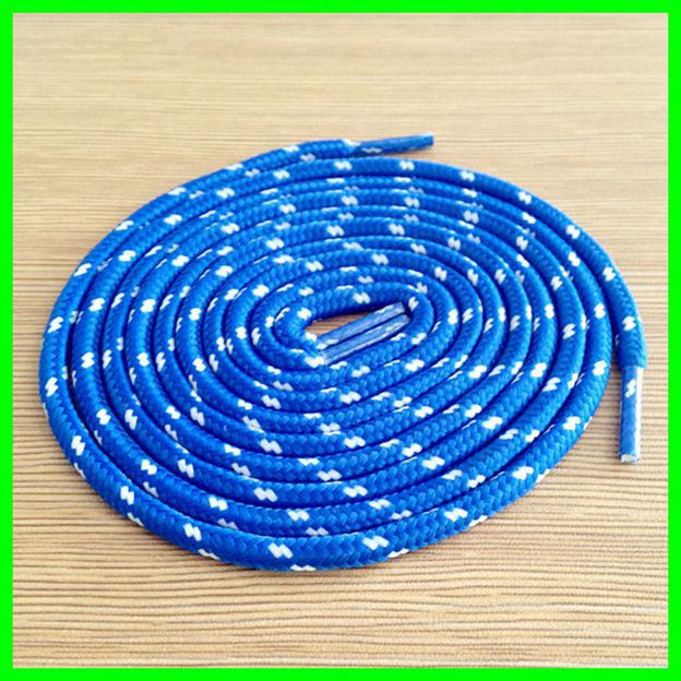 Blue With White Dot Shoelace Kids Sports Shoes Laces Cavans Casual Shoes Rope Lace 5 Pairs On Sale semi circle multicolour shoelace two tones cavans shoe laces elastic men s shoes lacet 110cm length 10 pairs on sale
