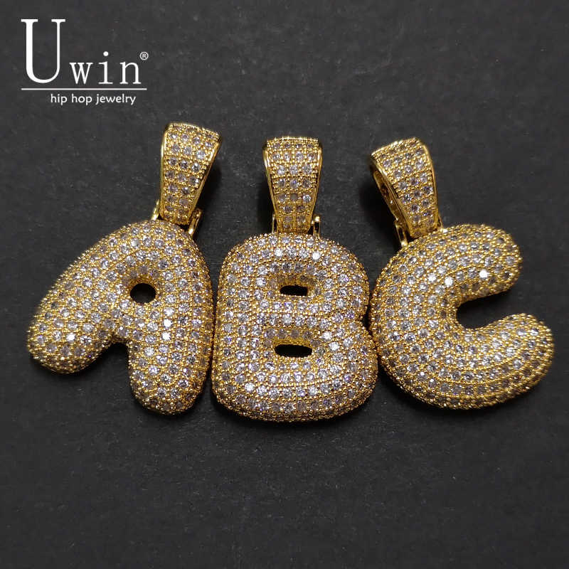UWIN A-Z Custom Name Bubble Initial Letter Necklaces & Pendant Charm For Cubic Zirconia Hip Hop Jewelry Drop Shipping