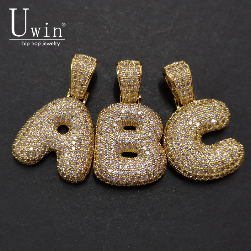 UWIN A-Z Custom Name Bubble Letters Necklaces & Pendant Charm For Gold Silver Color Cubic Zirconia Hip Hop Jewelry Drop Shipping custom name bubble letters chain pendants necklaces men s zircon hip hop jewelry with 4mm gold silver tennis chain