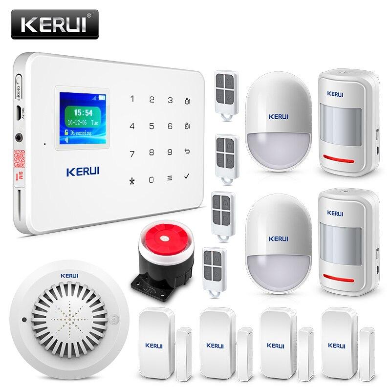 Kerui G18 GSM Alarm PIR Motion Detector Wireless Smoke Detector Flash Siren LCD Screen House Security
