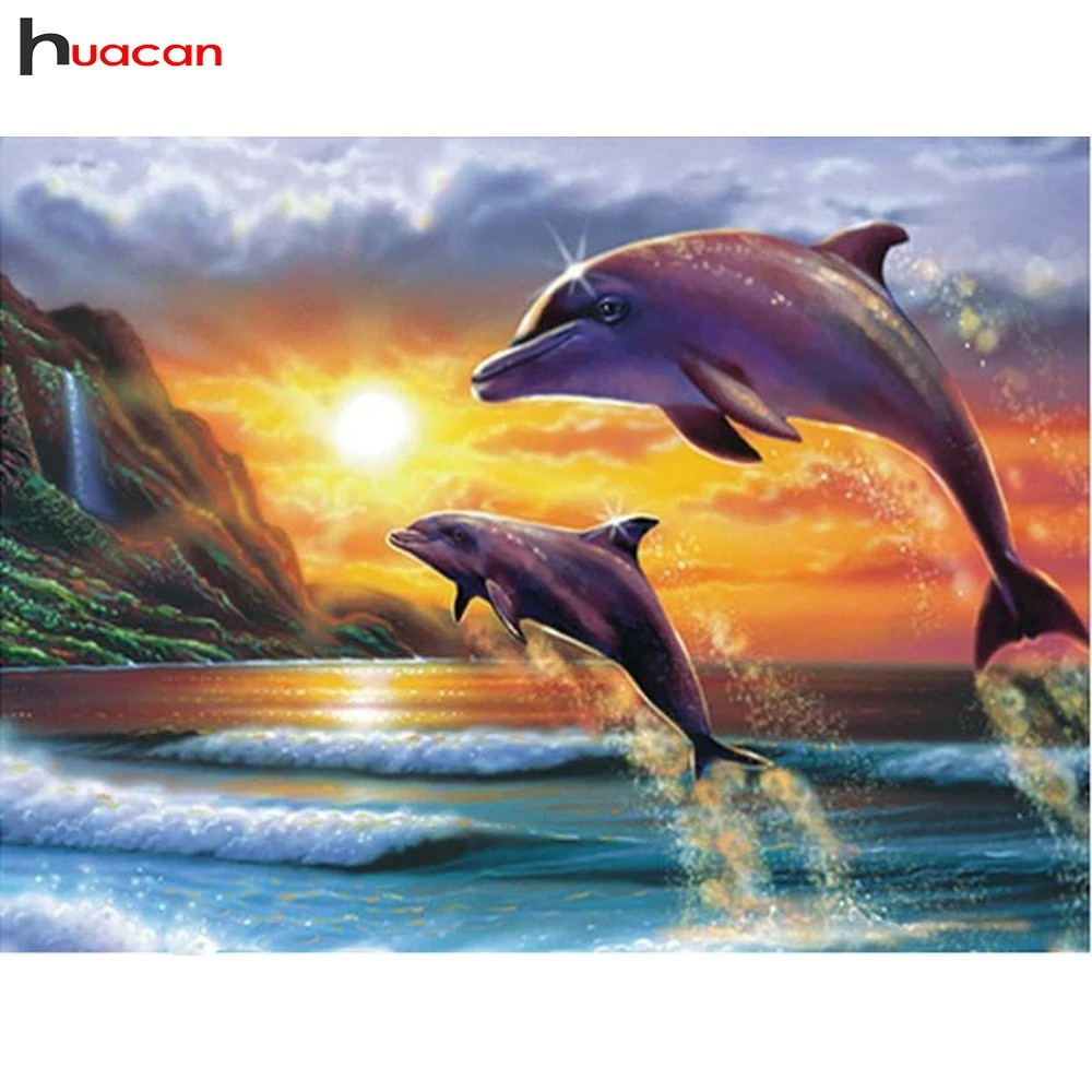 HUACAN Full Squre Diamond Embroidery Iconscenery Diamond Painting Cross Stitch Kits Dolphins Pattern Rhinestones Wall PaintingHUACAN Full Squre Diamond Embroidery Iconscenery Diamond Painting Cross Stitch Kits Dolphins Pattern Rhinestones Wall Painting