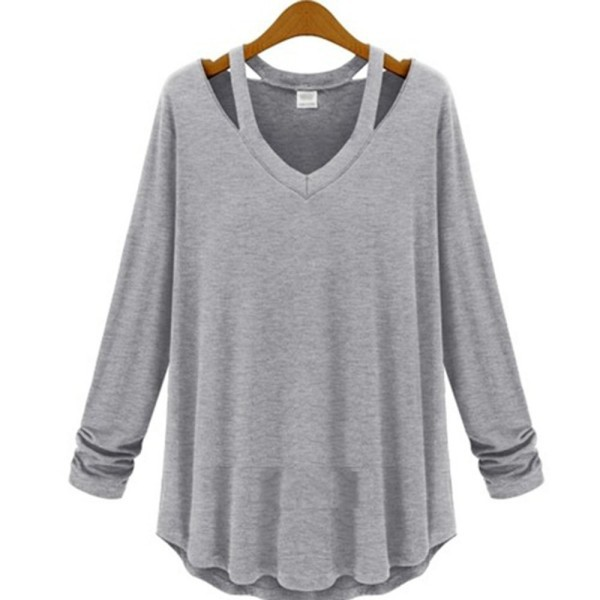 Women cotton soft long sleeve v neck loose solid casual for Soft cotton long sleeve shirts