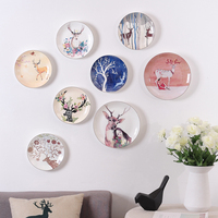 Elk ceramics decorative plates wall decoration pendants deer head design decorative dishes home craft s decor accessories