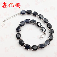 925 silver inlaid natural sapphire bracelet female 6 x8mm