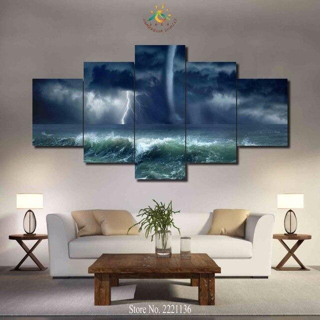 3 4 5 panels set water dragon tornado new hd art canvas painting