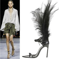 Sexy Plumed Fashion Runway Shoes Summer T tied Lace up Stiletto High Heels Fetish Shoes Multicolor Feather Sandals Women