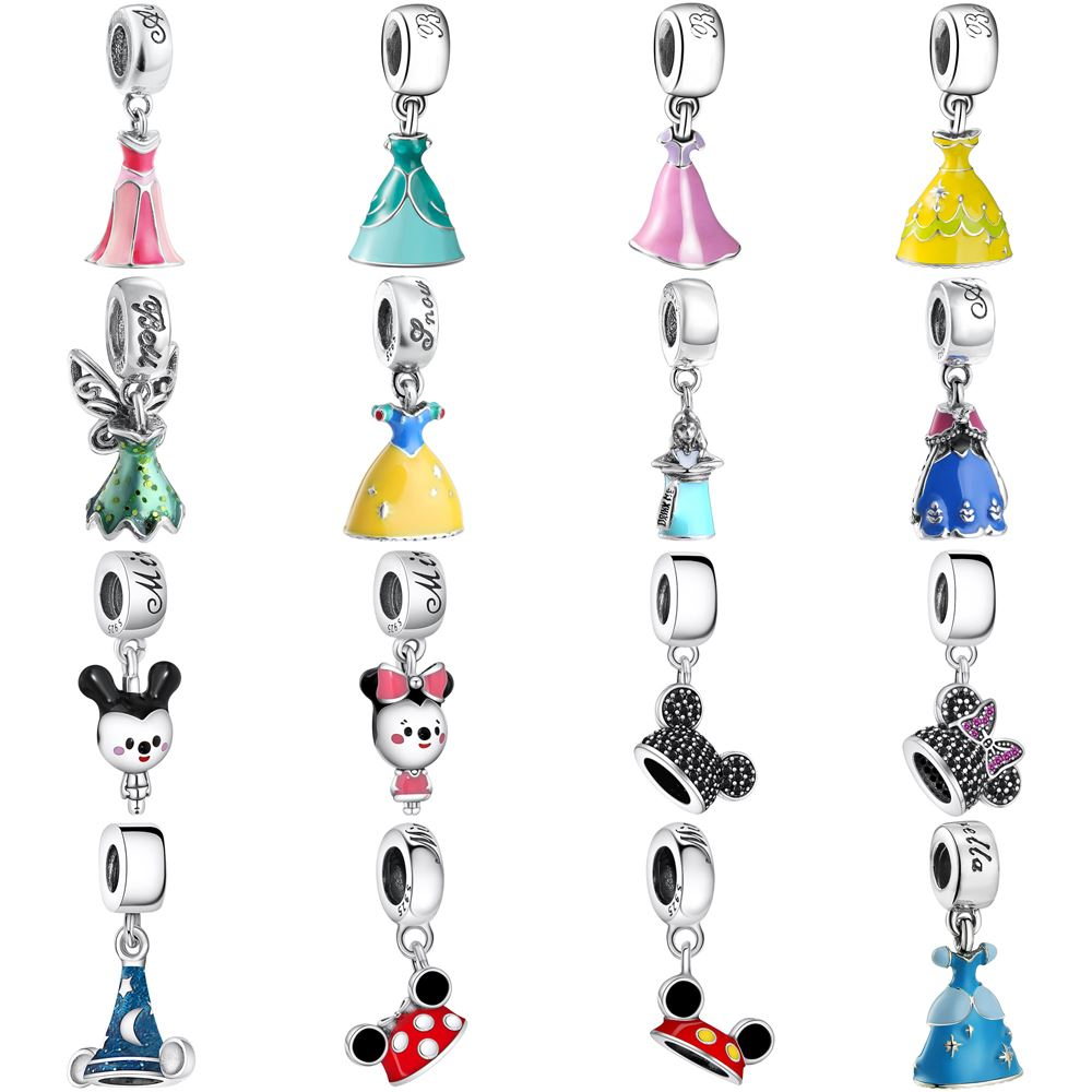 WYBEADS 925 Sterling Silver Princess Dress Charms Fairy Pendant European Bead Fit Bracelet & Necklace DIY Accessories Jewelry