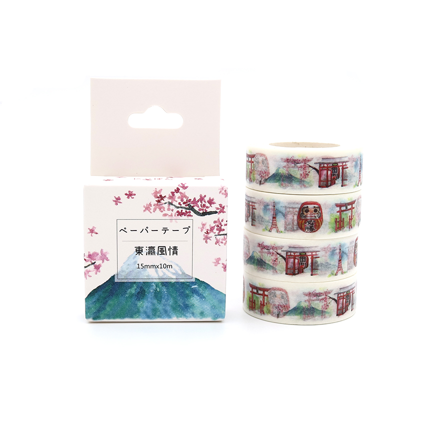 Box Package Japan Style Washi Tape Excellent Quality Colorful Paper Masking Tape DIY Decorative Tapes 10m*15mm