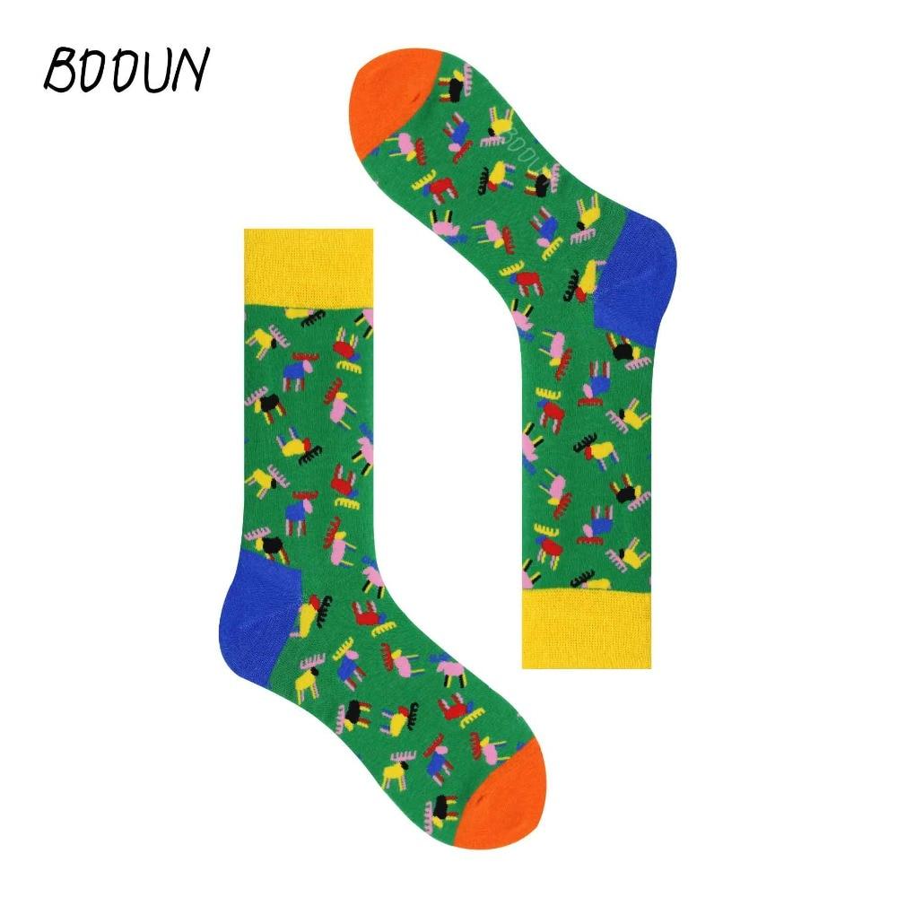 Royale Happy Mens Cotton Stocks Hip Hop Personality Casual Fashion Style Fireworks Elk Men's Socks