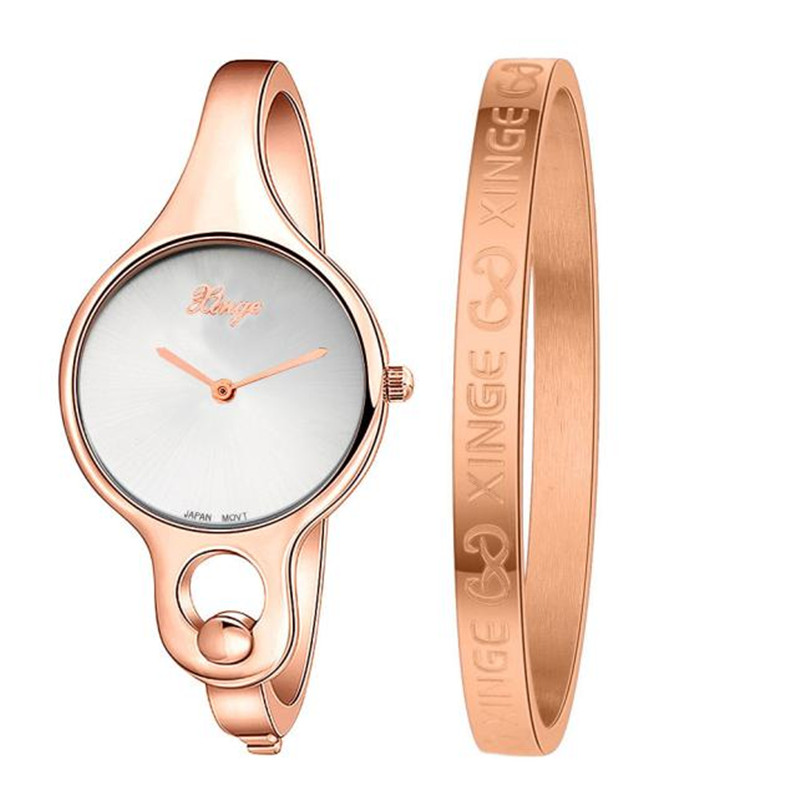 Fashion Wristwatches Female Gold Dress Watch s feminino Women Gold Rhinestone Bangle Watch And Bracelet Set 2017 montre femme
