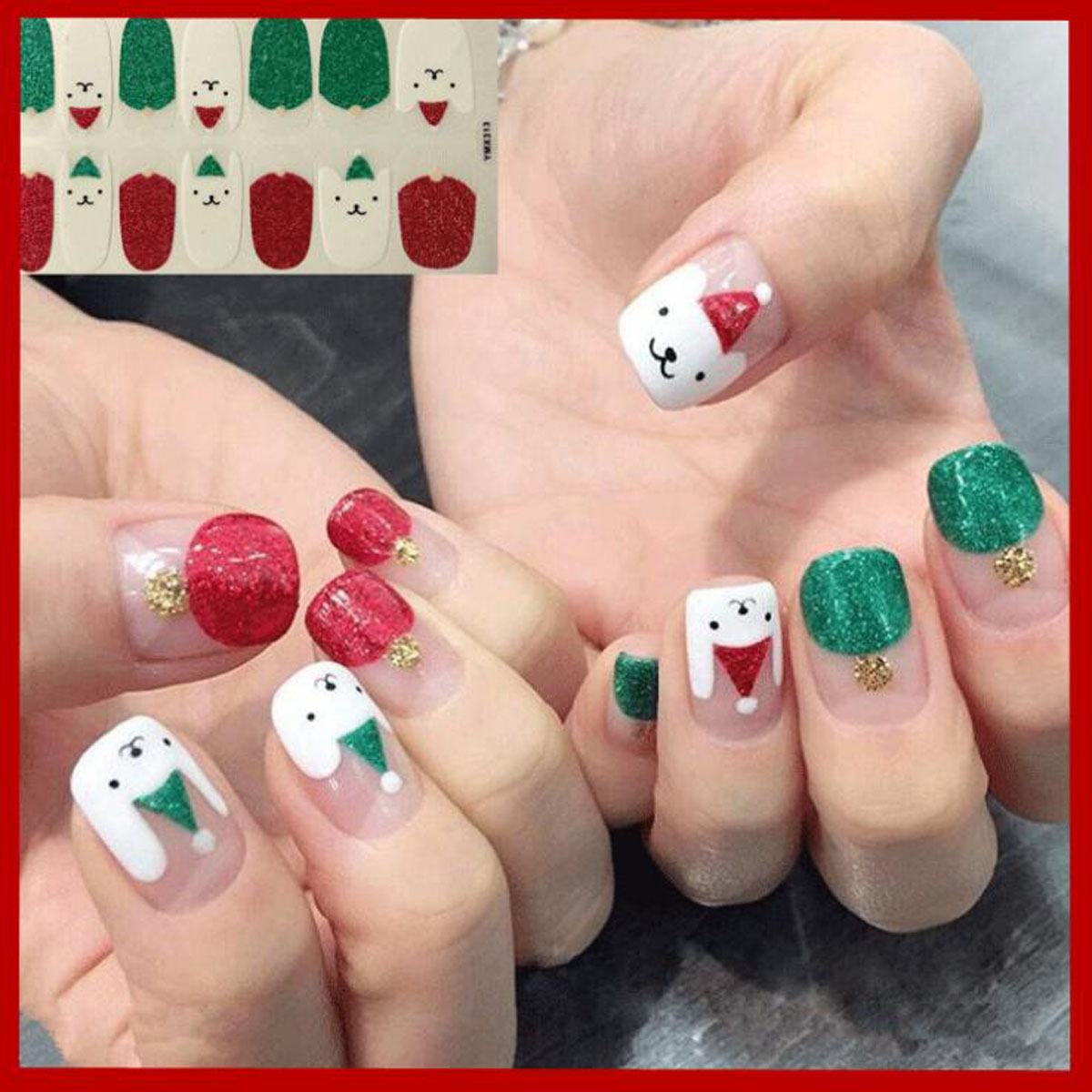 1sheet Beauty Nail Art Stickers Full Cover Wrap Nail Art Water Decals Transfer DIY Manicure Nail Decoration For Winter Christmas