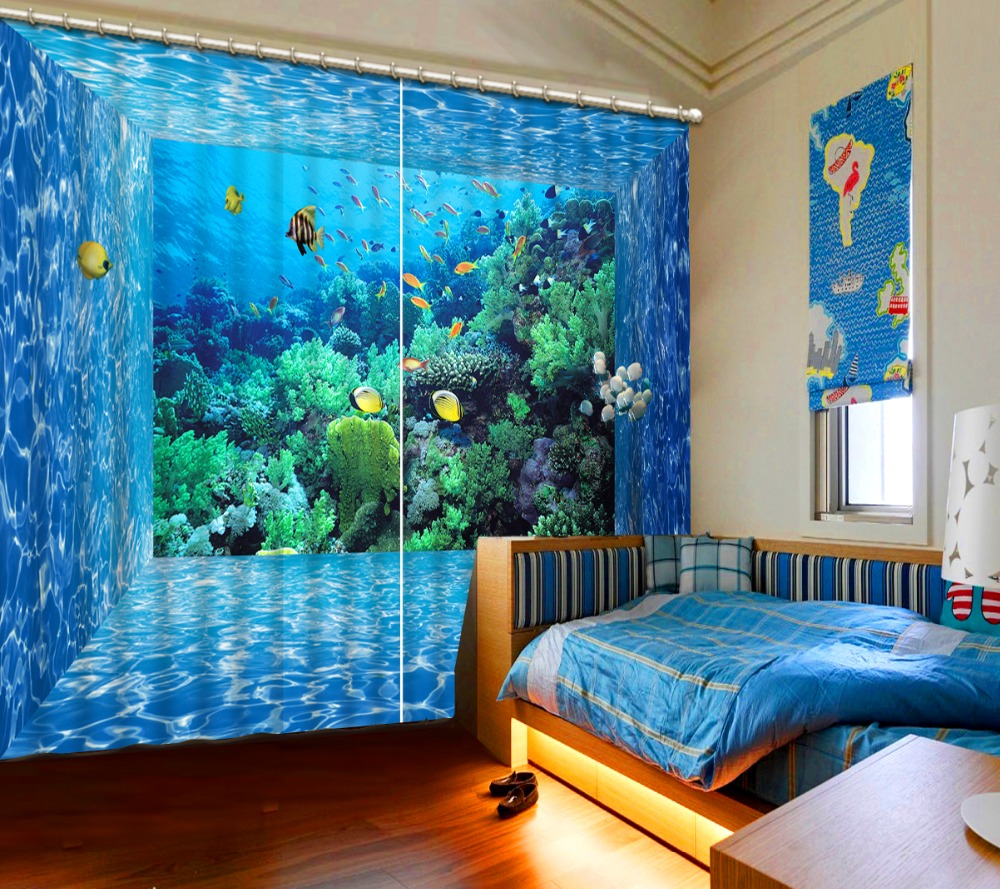 49 Beautiful Beach And Sea Themed Bedroom Designs: Underwater World Blackout Curtains For Living Room Bedroom