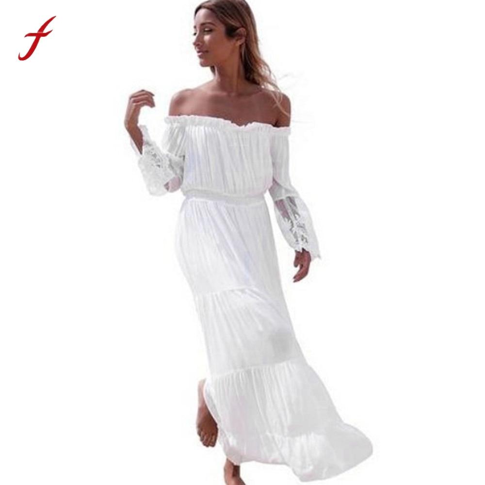 Spring Summer Style Women Sexy Dress 2017 Strapless Beach Summer Lace Long sleeve Off sholder Long Dress Beach Dresses