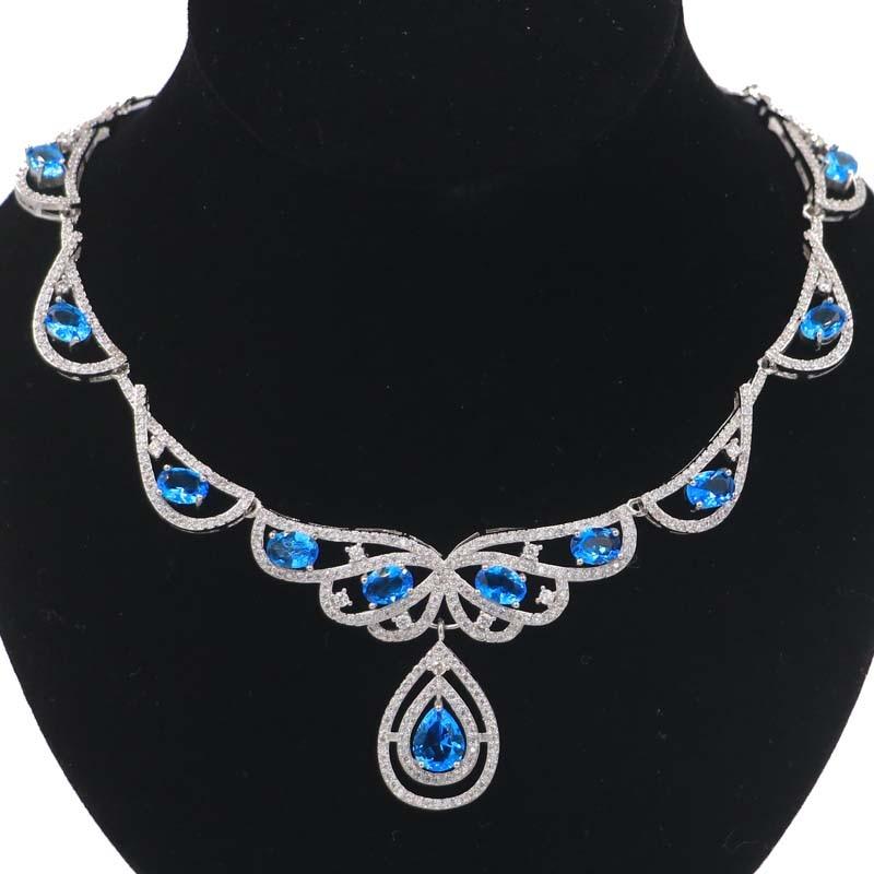 Luxo topo paris topázio azul branco cz senhoras presente colares de prata 18.5-19.5in 52x34mm