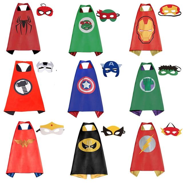 Trajes de Halloween Super hero Cabo CABO + 1 1 MÁSCARA Batman Super hero Spiderman Crianças Halloween Trajes Do Partido Dos Miúdos Superrman