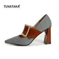 Suede Square High Heel Pointed Toe Woman Pumps Fashion Buckle Dress High Heel Shoes Woman Black Brown