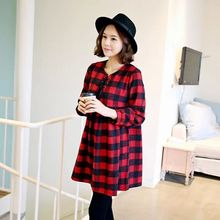 Maternity dress Spring autumn long sleeve plaid Maternity clothes for Pregnant women clothing red and black plaid large size